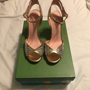 Kate Spade Oak BNIB Silver Glitter Sandal Heels